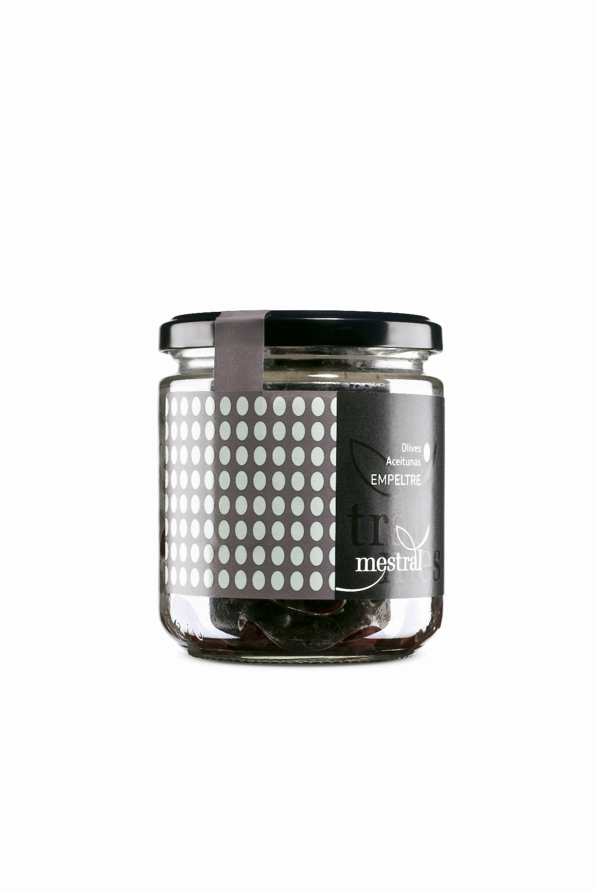 Olives Empeltre Mestral, pot transparent 200g, CAT-ES-EN-FR-DE