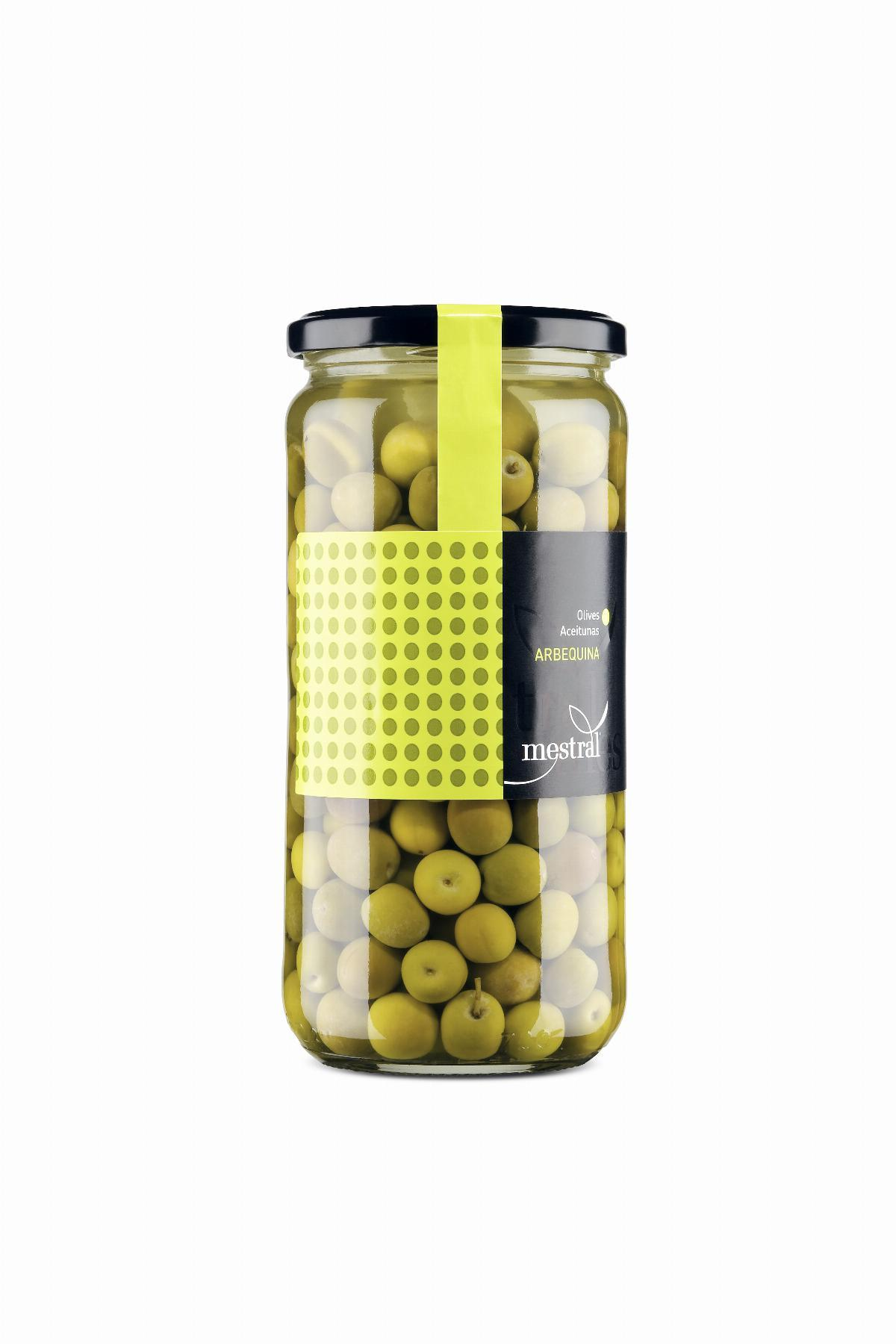 Olives Arbequina Mestral, pot transparent 440g, CAT-ES-EN-FR-DE