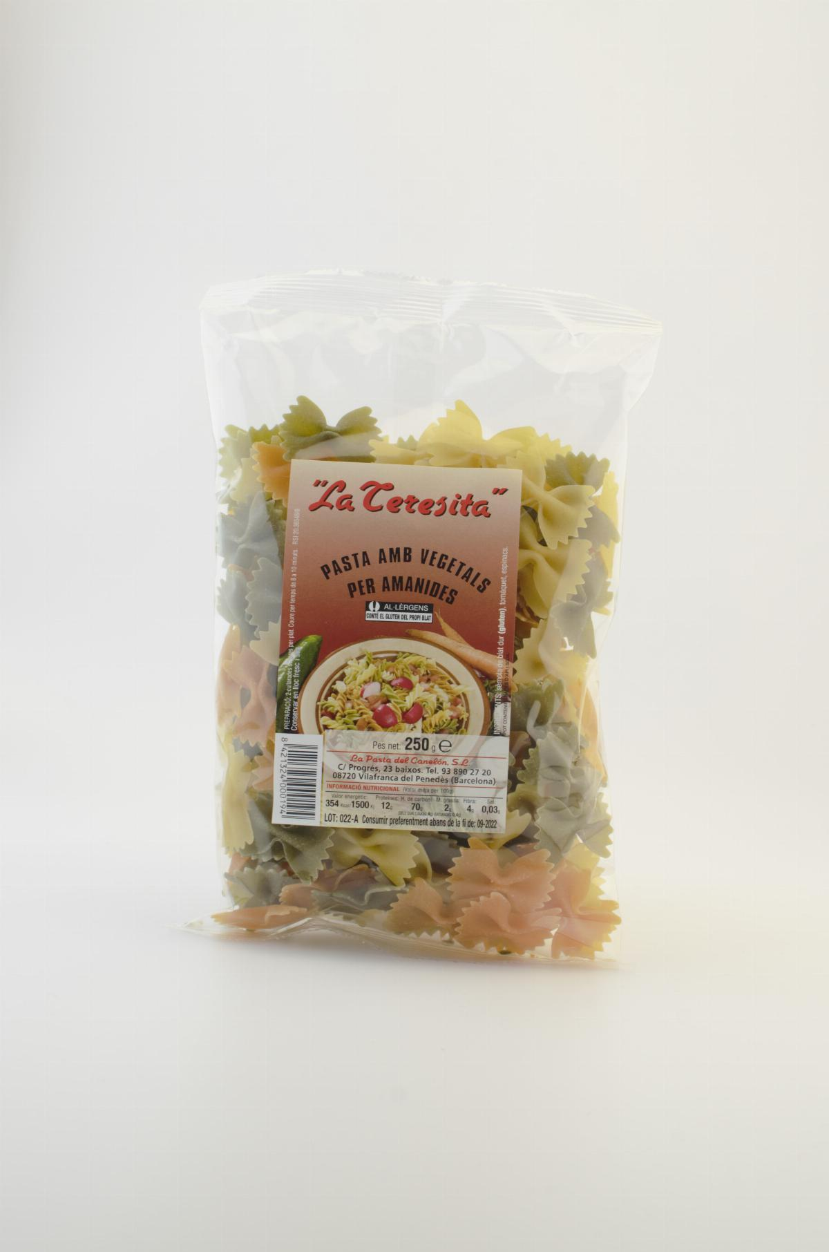 Pasta - La Teresita farfalle Pasta 3 colours with vegetables 250g - Mestral Cambrils
