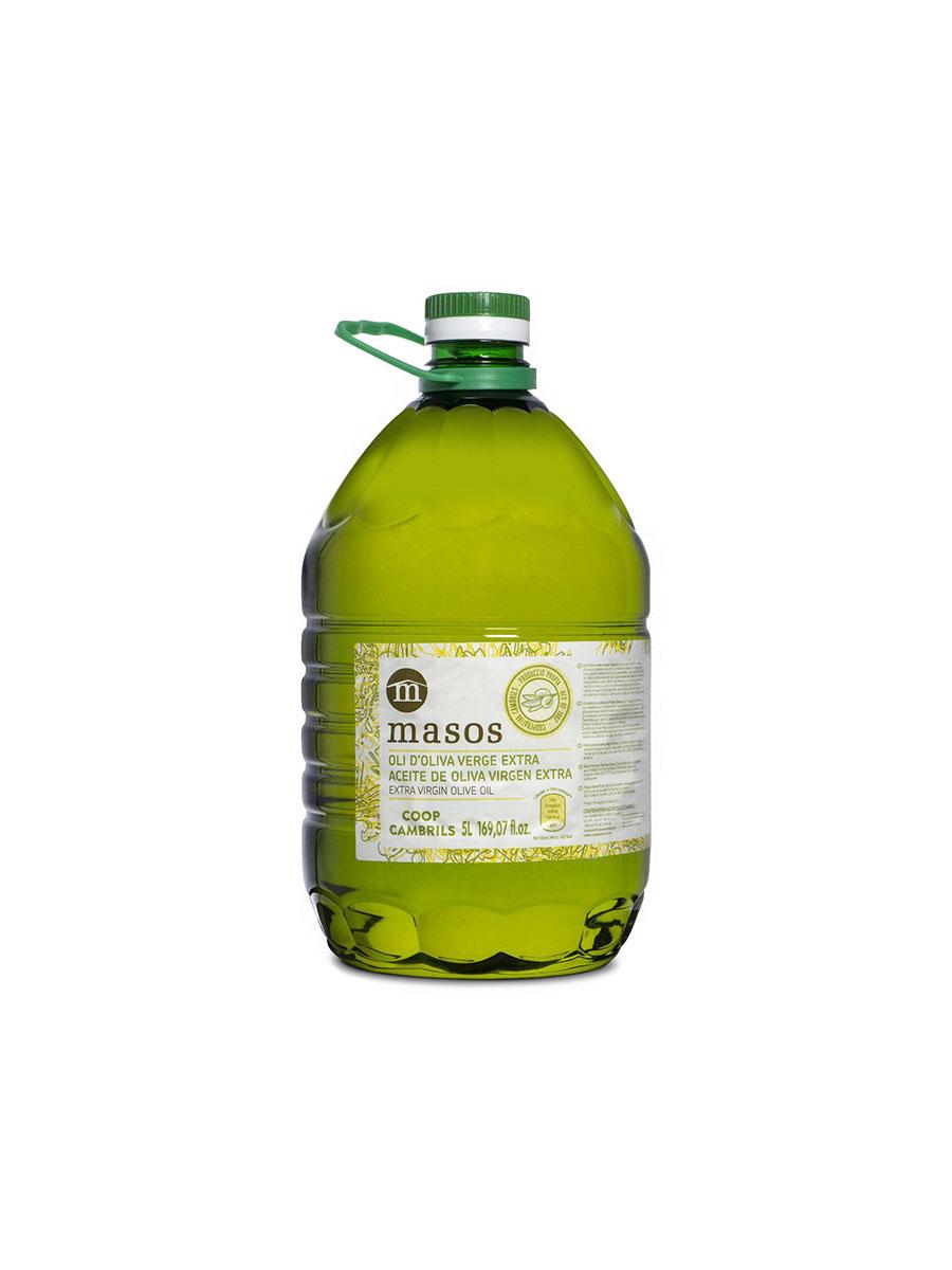 Oli d'Oliva Verge Extra Masos, plàstic verd 4 litres. CAT-ES-EN-FR