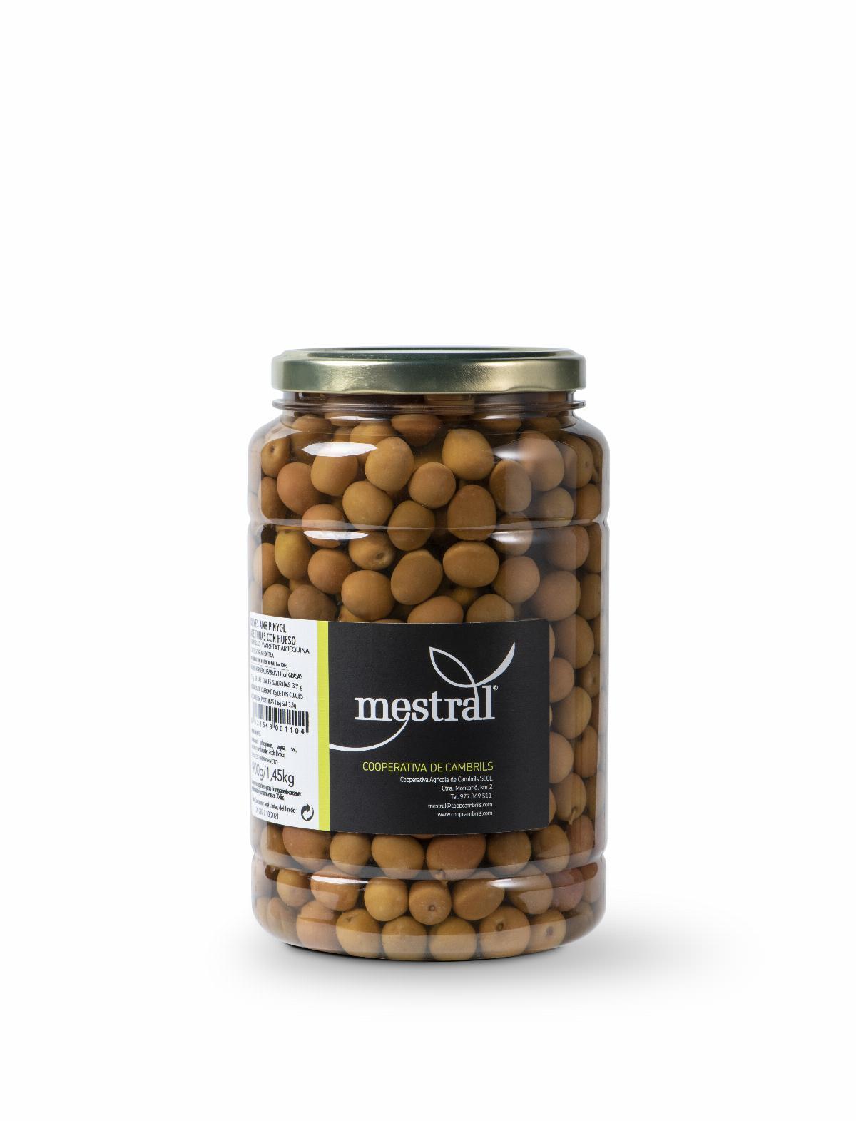 Olives - Olives Arbequina Mestral plàstic 900gr (M) - Mestral Cambrils