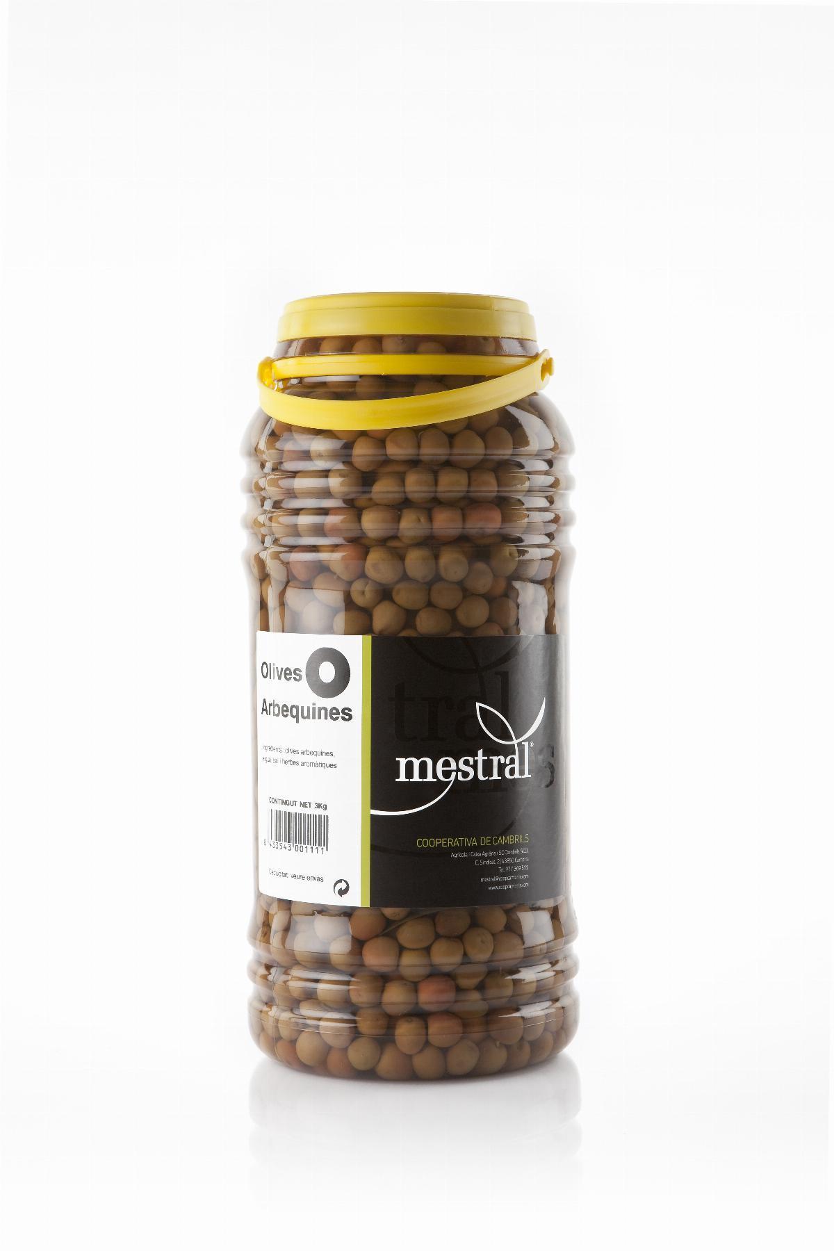 Olives - Olives Arbequina Mestral PET 3Kg - Mestral Cambrils