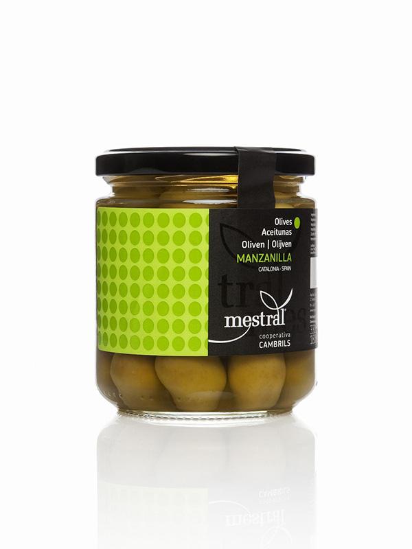 Olives - Olives Manzanilla Mestral pot en verre 180 g - Mestral Cambrils