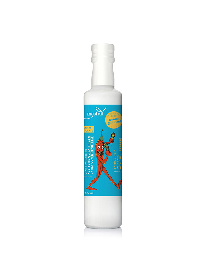 Extra Virgin Olive Oil infused with Red Hot Chili Peppers. Bot. 250 ml Edition Chef Jerome Quilbeuf