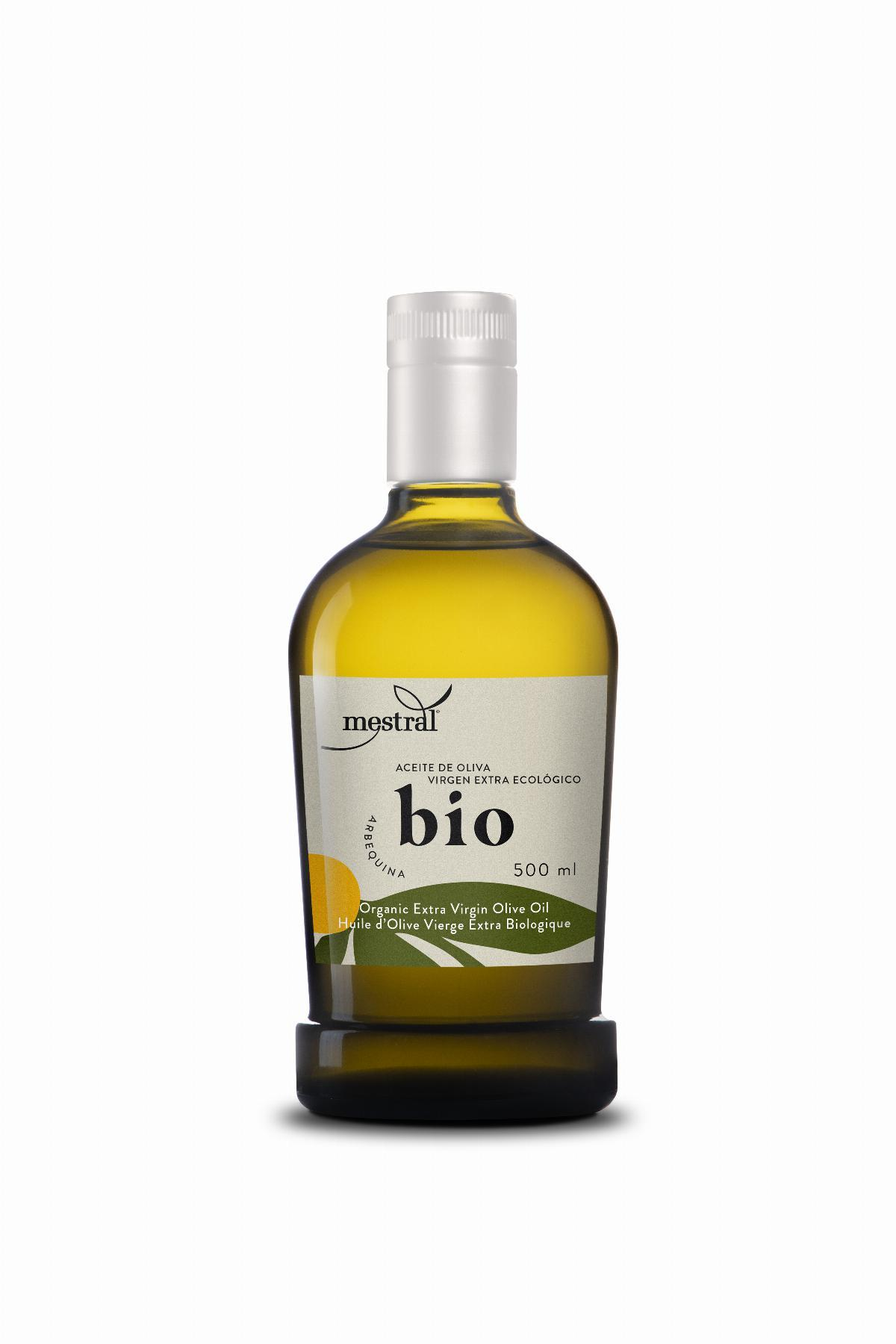 Organic Mestral Extra Virgin Olive Oil glass bottle 500ml - Operator CT 005725 C Controled by ES-ECO-019-CT. UE Farming