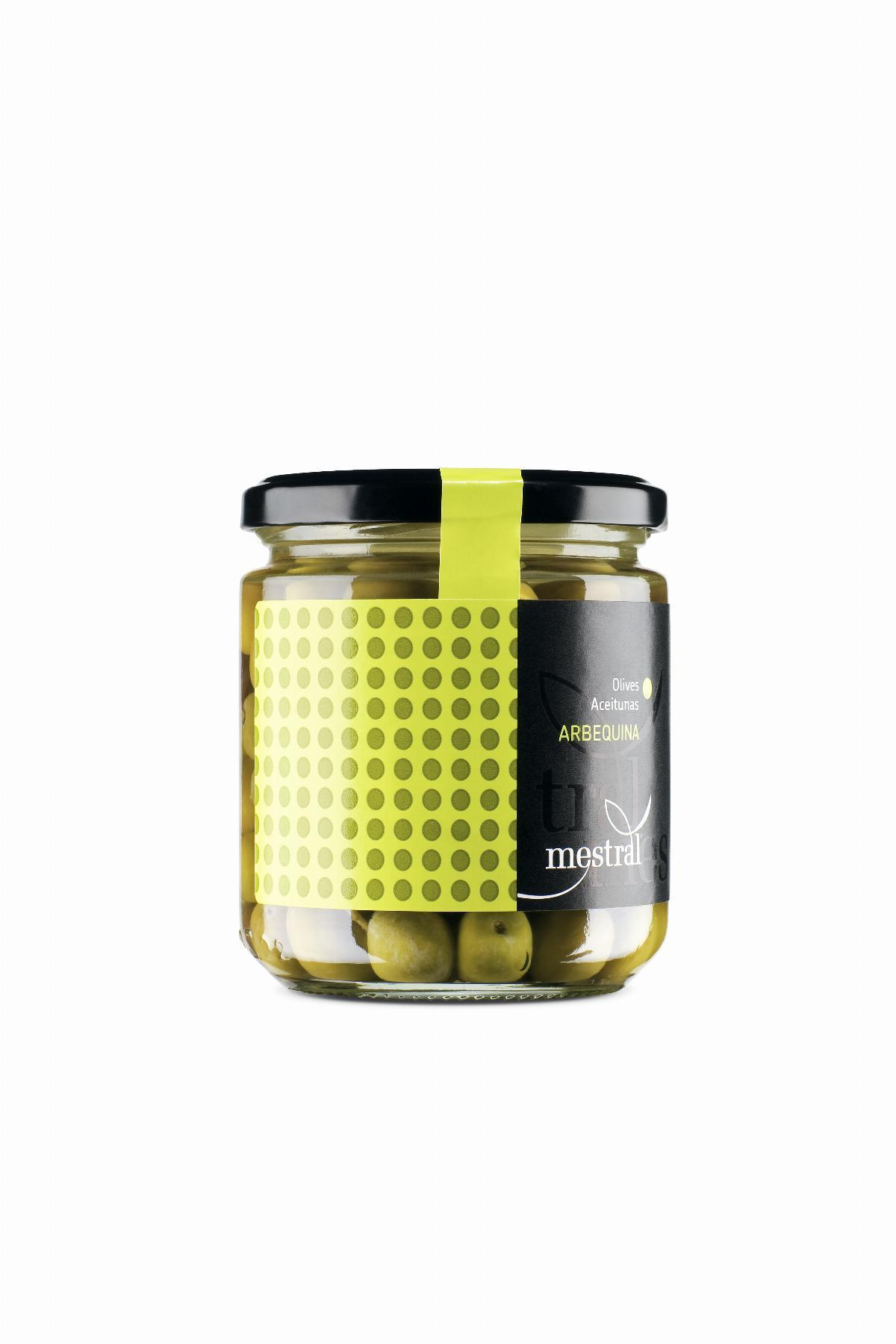 Olives Arbequina Mestral, pot transparent 210g, CAT-ES-EN-FR-DE