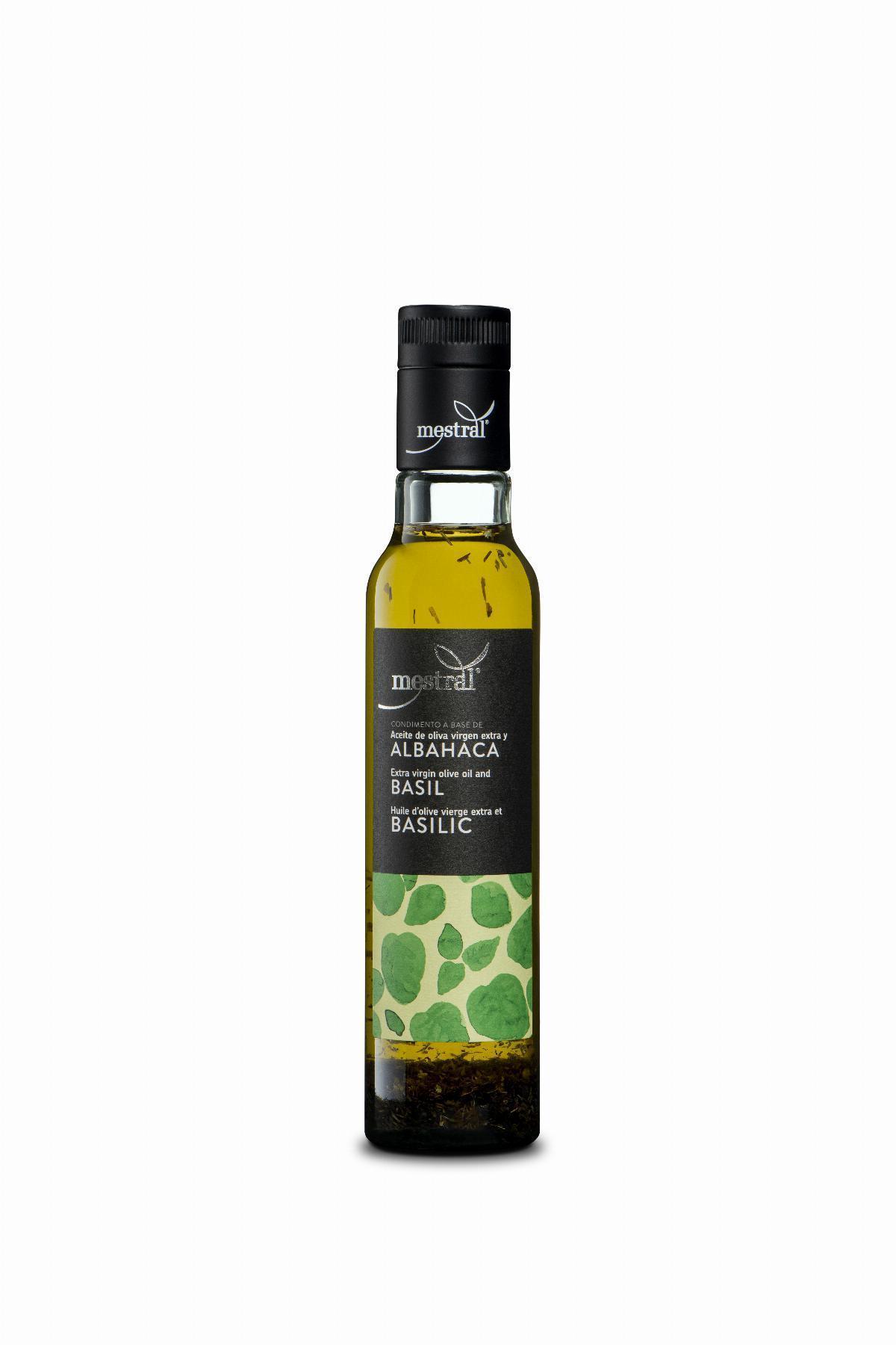 Olis i infusionats - Oli d'Oliva Verge Extra Mestral amb Alfàbrega, ampolla Dòrica transparent, 250ml, ES-EN-FR - Mestral Cambrils