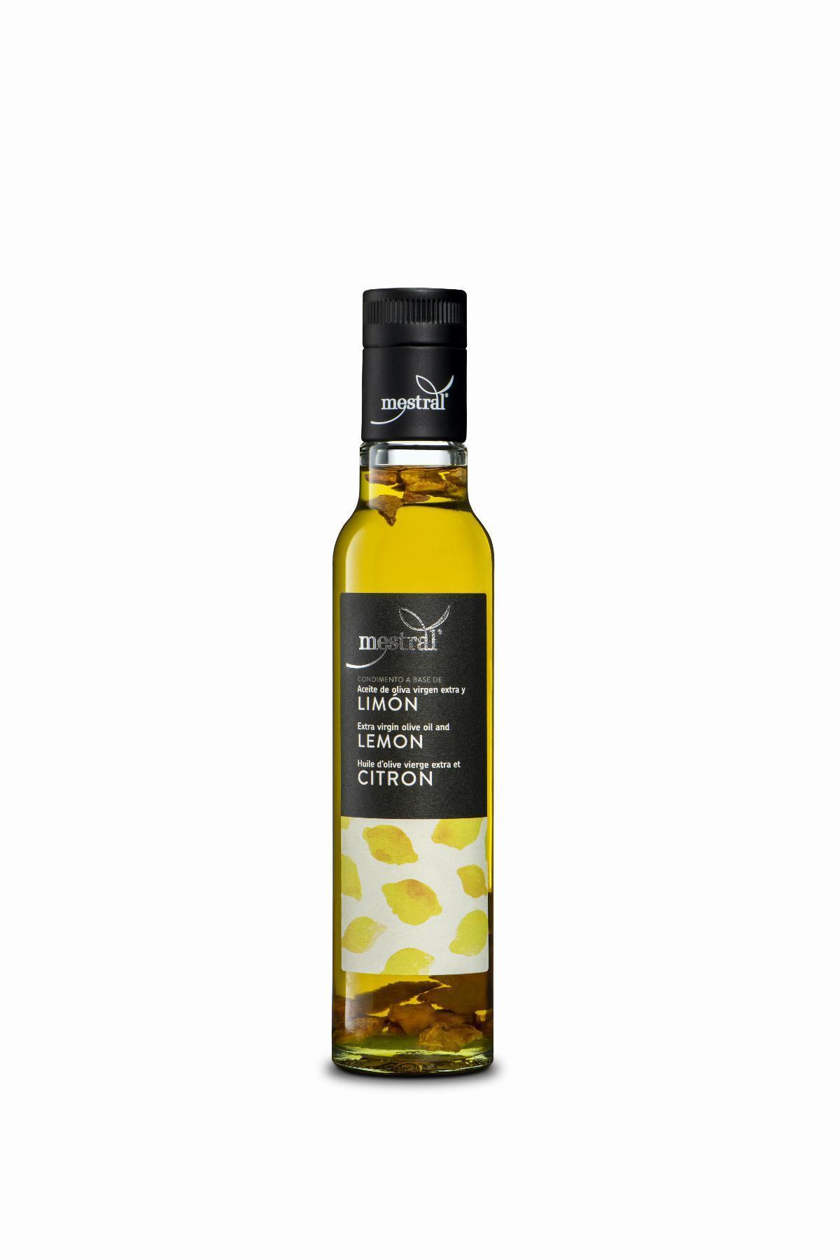 Olis i infusionats - Oli d'Oliva Verge Extra Mestral amb Llimona, ampolla Dòrica transparent, 250ml, ES-EN-FR - Mestral Cambrils