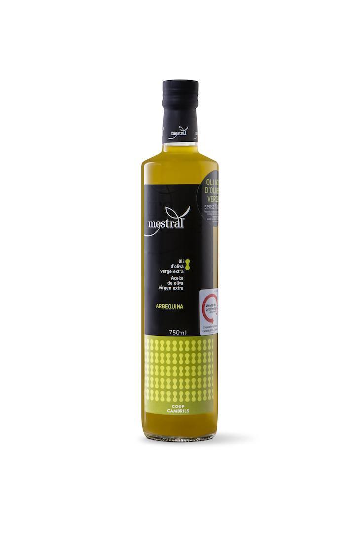Huile d'olive et Condiments - Oli d'Oliva Verge Extra Mestral, sense filtrar, ampolla dòrica transparent, 750ml, CAT-ES - Mestral Cambrils