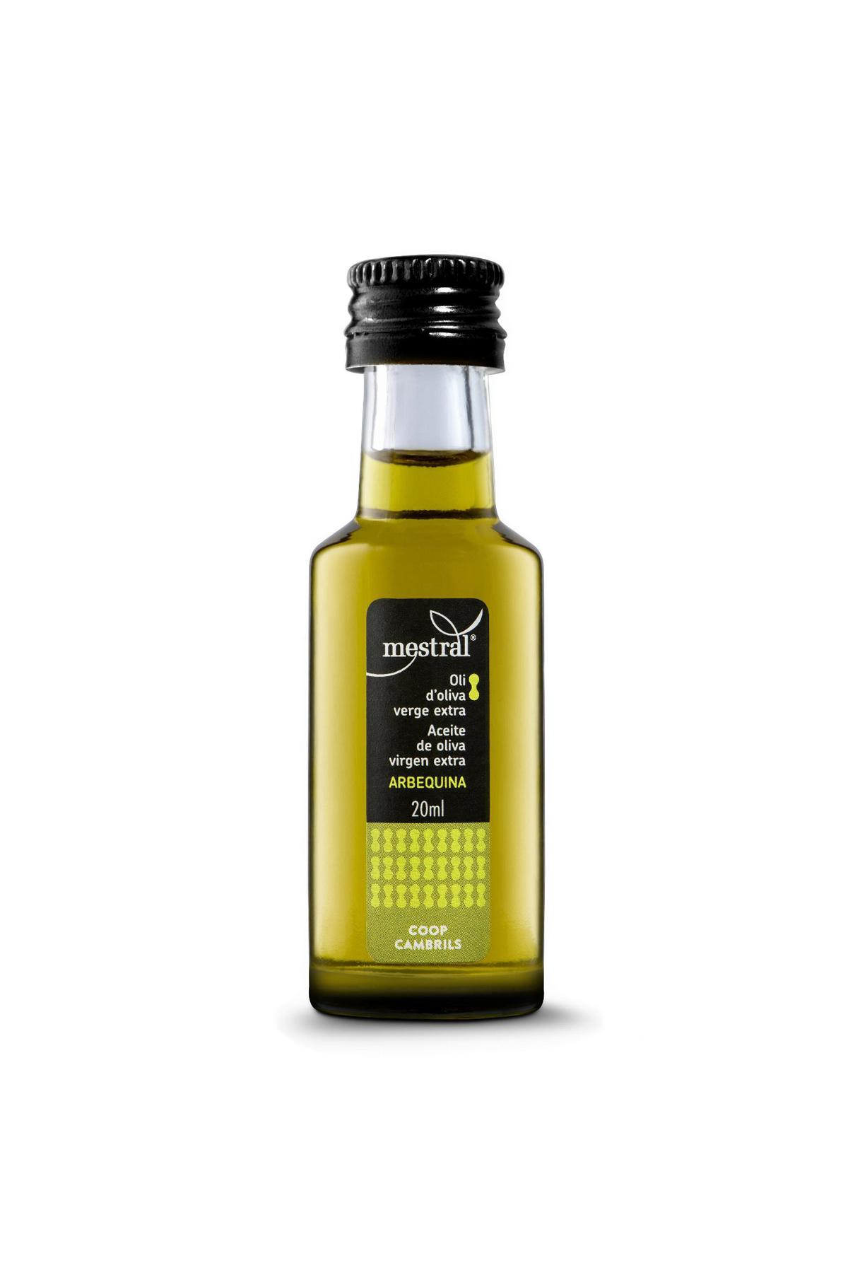 Mestral Arbequina Extra Virgin Olive Oil SINGLE DOSE bottle 40 x 20 ml